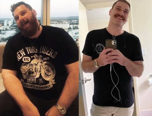 Zac lost a whopping 55kg for his son's.